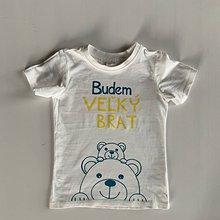 """Detské oblečenie - Maľované tričko s nápisom """"Bude zo mňa veľký brat"""" ( (BIELE S MACÍKMI) - 12041220_"""