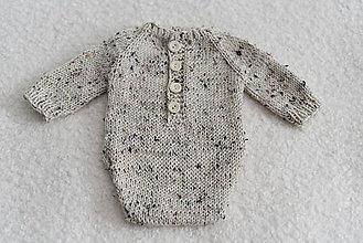 Detské oblečenie - Newborn body s dlhými rukávmi - merino tweed (Body s dlhými rukávmi) - 12043495_