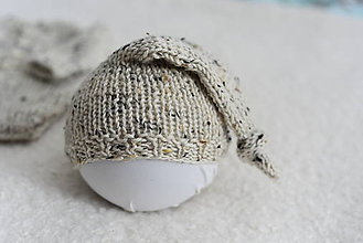 Detské oblečenie - Newborn body s dlhými rukávmi - merino tweed (Čiapočka - sleepy hat) - 12043504_