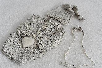 Detské oblečenie - Newborn body s dlhými rukávmi - merino tweed - 12043557_