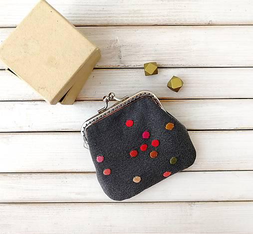 Peňaženka mini Bodky na šedej