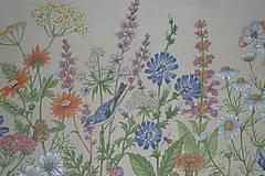 Textil - Látka Lúčne kvety bordúra - 12046133_