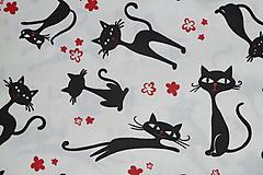 Textil - Látka Mačky a kvietky - 12046288_