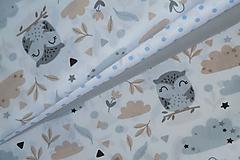 Textil - Látka Šedé sovičky - 12046416_