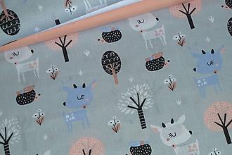 Textil - Látka Srnky na šedej - 12046395_