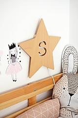 Detské doplnky - Detská drevená lampa - Hviezda s iniciálou - 12045357_