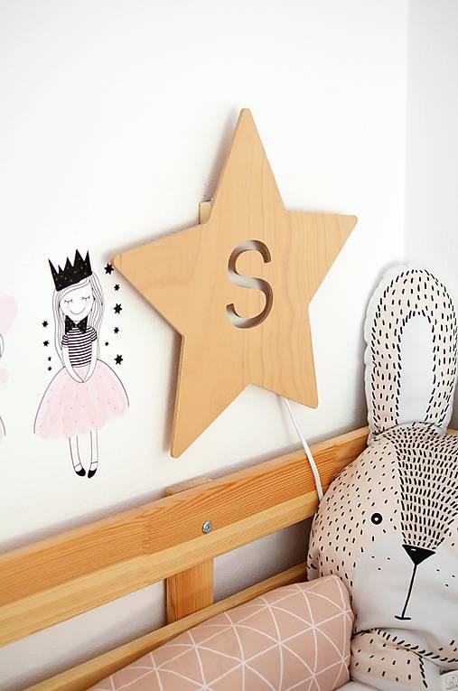 Detská drevená lampa - Hviezda s iniciálou