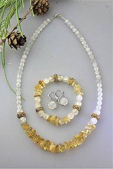 Sady šperkov - Náhrdelník, náramok a náušnice krištál a citrín - 12045444_
