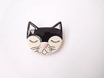 Odznaky/Brošne - brošňa mačka čierna - 12048531_