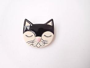 Brošne - Čierna mačka brošňa - 12048531_