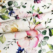 Textil - letné kvety, extra kvalitný 100 %bavlnený satén s certifikátom, šírka 150 cm - 12045202_