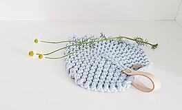 Úžitkový textil - Pletená podložka - srdiečkový lístok červený (Bledomodrá 16,5 x 15) - 12047805_