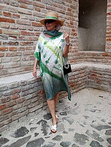 Šaty - maľba na hodváb-šaty LES - 12045296_