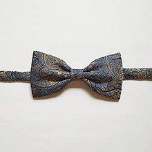 Doplnky - Motýlik modro-zlatý ornamentový - 12048398_
