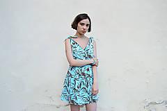 - Letné tyrkysové vzorované šaty - 12047767_
