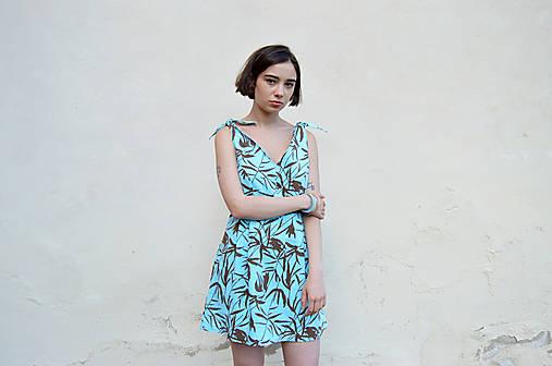 Šaty - Letné tyrkysové vzorované šaty - 12047767_