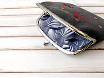 Peňaženky - Peňaženka XL Bodky na šedej (s kapsičkou) - 12045343_