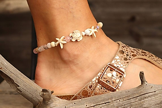 Náramky - Náramok na nohu s korytnačkou a minerálmi - 12046886_