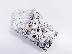 Textil - Zavinovačka sivo-hnedé sovy - 12049909_