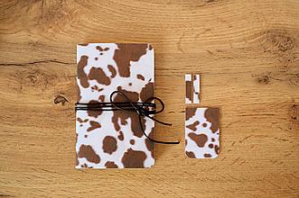 Papiernictvo - Set: Zápisník + magnetické záložky, Veselá kravička - 12050229_