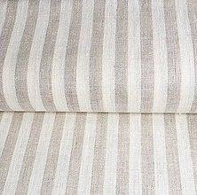 Textil - hrubé béžové pásiky, 100 % predpraný ľan - 12050436_