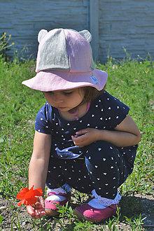 Detské čiapky - Ľanové klobúčiky Macko Uško - 12051077_