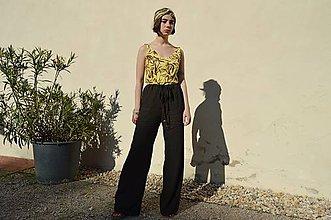 Nohavice - Letné tmavé zvonové nohavice - 12050679_