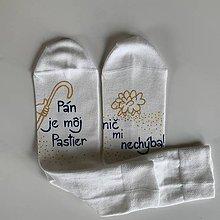 """Obuv - Motivačné maľované ponožky s nápisom: """"Pán je môj pastier!"""" (Biele 3) - 12051434_"""