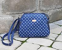 Kabelky - Modrotlačová kabelka Adriana riflová - 12049081_