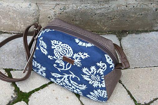 Modrotlačová kabelka Adriana hnedá