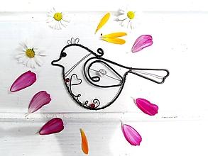 Dekorácie - vtáčik s korálikmi - 12051271_