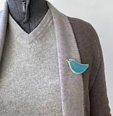 Odznaky/Brošne - Tyrkysový vtáčik. - 12052073_