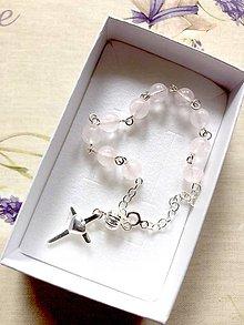 Náramky - Rosary Silver 925 Rose Quartz Bracelet / Strieborný ruženec na ruku alebo do auta s ruženínom - Ag 925 - 12053205_