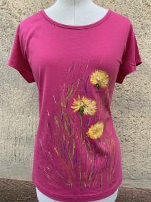 Tričká - Maľované tričko Včielka v ružovej farbe - 12052763_