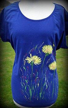 Tričká - Maľované tričko Včielka v modrej farbe - 12053019_