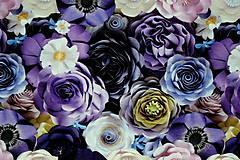 Textil - Teplákovina Fialové kvety digi - 12052594_