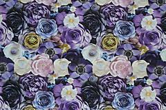 Textil - Teplákovina Fialové kvety digi - 12052595_