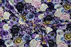 Textil - Teplákovina Fialové kvety digi - 12052597_