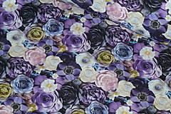 Textil - Teplákovina Fialové kvety digi - 12052598_
