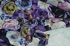 Textil - Teplákovina Fialové kvety digi - 12052600_