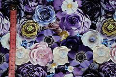Textil - Teplákovina Fialové kvety digi - 12052601_