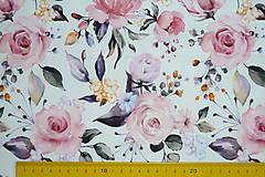 Textil - Teplákovina Maľované ruže digi - 12052619_