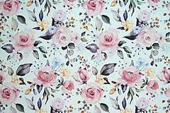 Textil - Teplákovina Maľované ruže digi - 12052620_