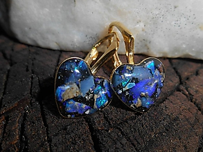 Náušnice - hearts in gold opals-brincos - 12055343_