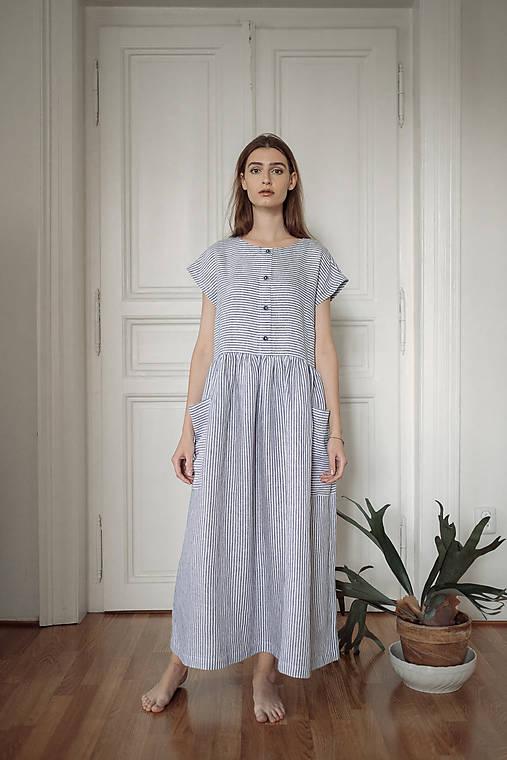 Šaty - ľanové šaty NEBE - 12054093_