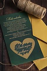 Papiernictvo - Stieracie pozvánka pre svedkyňu - Smaragd (Pozvánka 19x10cm) - 12053706_
