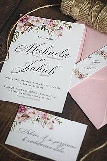 Papiernictvo - Svadobné oznámenie s ružovými kvetmi ❤ - 12053720_