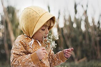 Detské čiapky - Vzdušný čepček horčicový - 12052586_