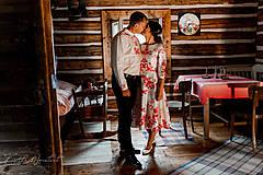 """Šaty - FLORAL FOLK """" Slovenská ornamentika """", spoločenské šaty v dĺžke midi - 12055686_"""