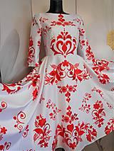 """Šaty - FLORAL FOLK """" Slovenská ornamentika """", spoločenské šaty v dĺžke midi - 12055695_"""